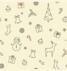 christmas symbols seamless background vector image