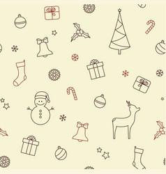 Christmas symbols seamless background vector