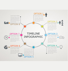 circular timeline infographics template vector image