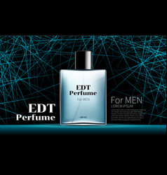 Classic mens perfume contained in a square blue vector