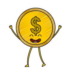 Coin money kawaii character vector