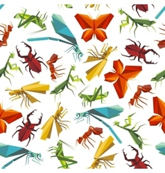 Colorful insects seamless pattern in origami style vector image