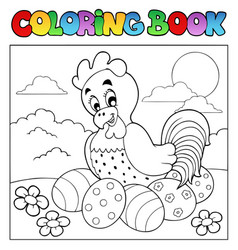 coloring book with easter theme 4 vector image