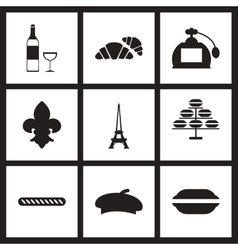Concept flat icons in black and white france vector