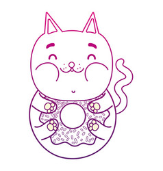 Degraded outline kawaii delicious funny cat donut vector