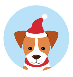 Dogs icon wearing red hat santa claus vector
