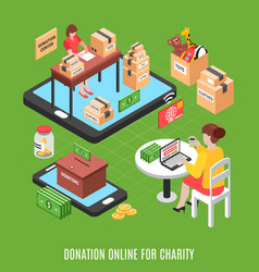 Donation online isometric background vector