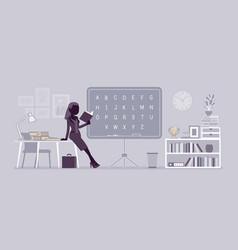 female teacher at the blackboard vector image