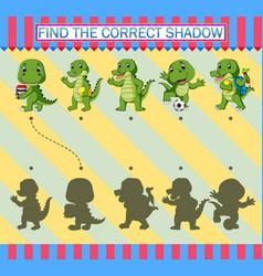 Find correct shadow cartoon cute crocodile vector