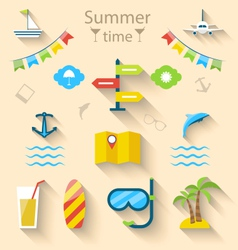 Flat colorful set icons of travel on holiday vector