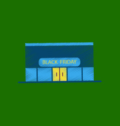 Flat shading style icon shop black friday vector