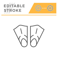 flippers editable stroke line icon vector image