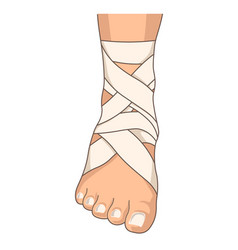 Foot bandage ankle stretching bandaging isolated vector