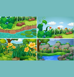 Four scenes with flowers in garden vector