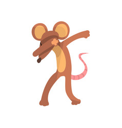 funny mouse standing in dub dancing pose cute vector image