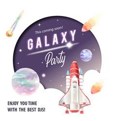 Galaxy social media design with rocket asteroid vector