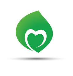 Green leaf with heart shape inside icon concept vector
