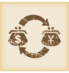 Grungy dollar-yen exchange icon vector