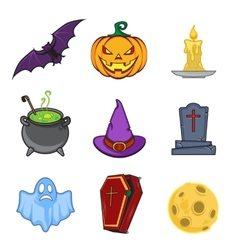 Halloween cartoon icon objects vector