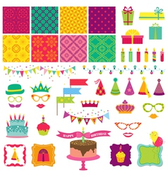 Happy Birthday and Party Set vector