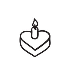 Heart-shaped cake with candle sketch icon vector