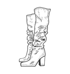 high women boots sketch vector image
