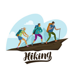 Hiking trip climbing people climb mountain vector