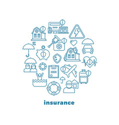 home insurance and property line icons in vector image