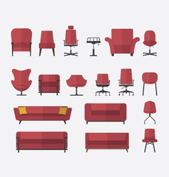 Icon set home and office furniture interior vector