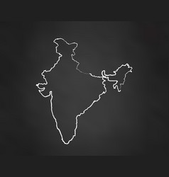 india country map chalk outline vector image