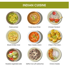 Indian cuisine traditional dishes flat vector
