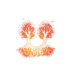 intertwined tree roots inseparable object vector image