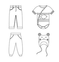 Isolated object wear and child symbol set of vector