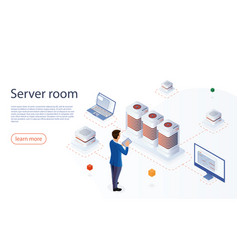 it engineer with modern tablet in network server vector image