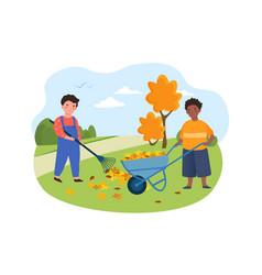 Kids doing housework chores raking falling leaves vector