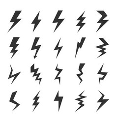 lightning bolt icons set images vector image
