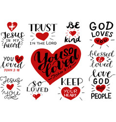 Logo set with bible verse and christian quotes you vector