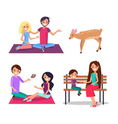Man and woman feeding deer mother son bench vector