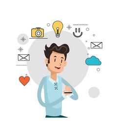 man smartphone information social media background vector image