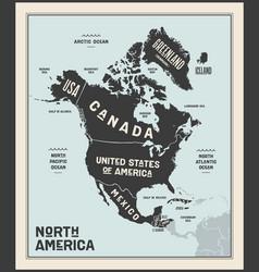 map north america poster north america vector image