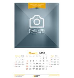 March 2018 wall calendar for 2018 year design vector