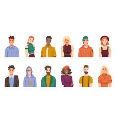 multiracial and multicultural society portraits vector image