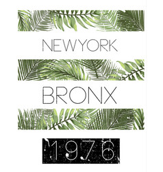 New york typography with floral t shirt graphic vector