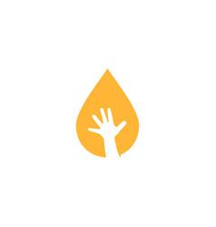 oil drop child baoil hand logo icon vector image
