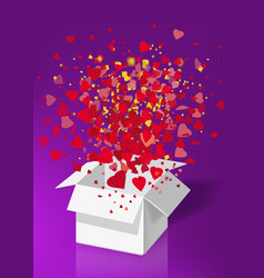 open explosion white gift box fly hearts and vector image