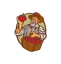 Organic Farmer Tomato Basket Woodcut Linocut vector