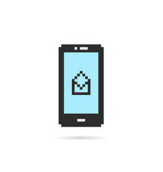 pixel art phone with open letter vector image