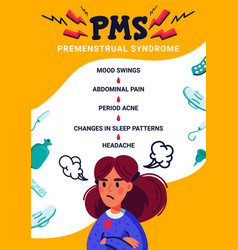 Pms vertical banner concept woman suffering from vector
