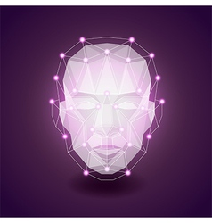 Polygonal face on dark background vector