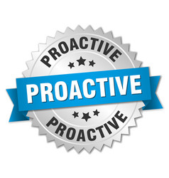 Proactive round isolated silver badge vector